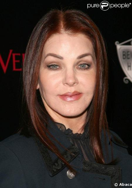 """evidently PRISCILLA PRESLEY went to the """"KENNY ROGERS SCHOOL OF FACELIFTS."""