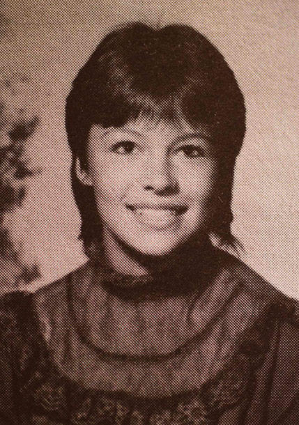 Pamela Anderson (Back Row Far Left Age 16 Poses For Her 1984 High School Yearbook Phot