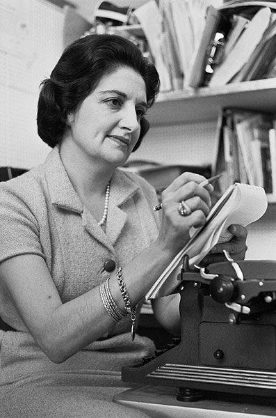 Helen Thomas with Pad and Pencil
