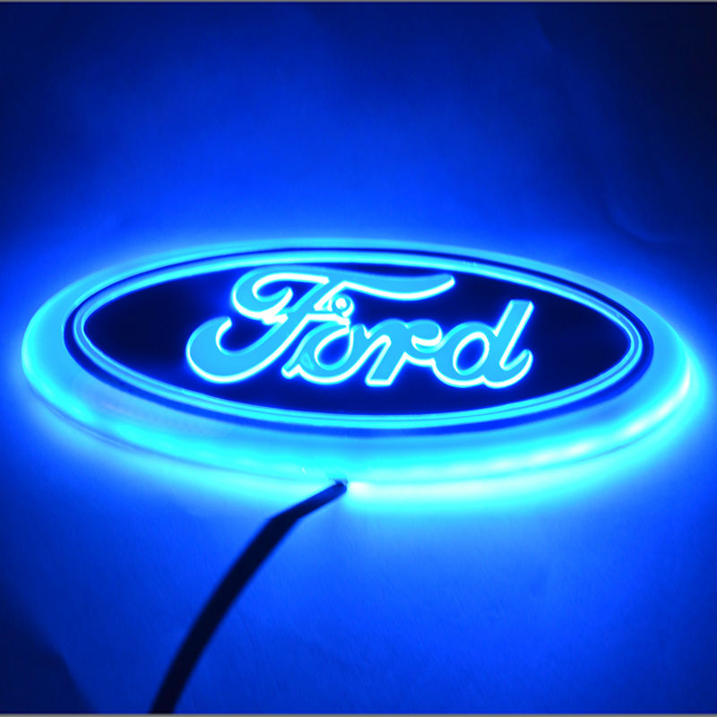 Free-Shipping-Newest--car-cool-Design-Stylish-Colorful-LED-logo-decoration-Light-for-Ford-Red